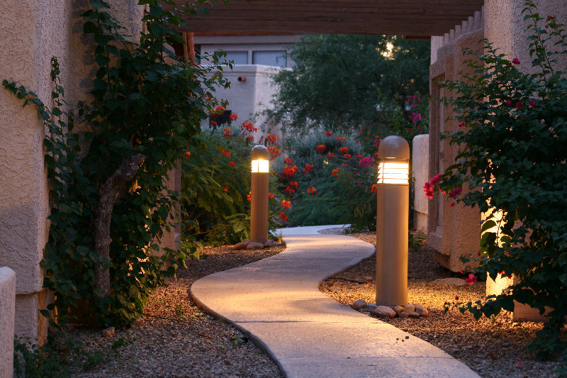 In a commercial pathway bollard lighting hits the mark.