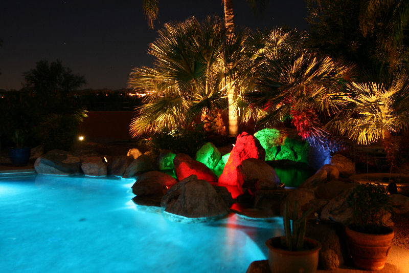 An intimate pool area can benefit from a splash of color.